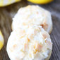 Lemon Cookies with Toasted Coconut Frosting