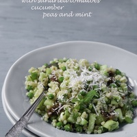 Jersusalem Couscous with Sundried Tomatoes, Cucumber, Peas, and Mint
