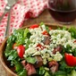 Blackened blue steak salad with coffee marinade