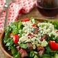 Blackened blue steak salad with coffee marinade