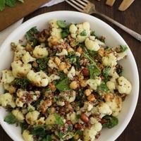 Roasted cauliflower and chickpea quinoa salad with jalapeño-lime dressing