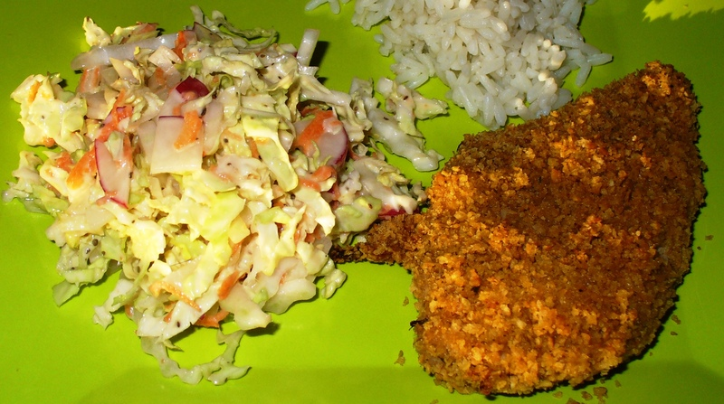 Easy Crispy Oven-Fried Chicken With Quick Slaw