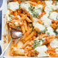 Baked Penne with Roasted Red Pepper Sauce and Goat Cheese