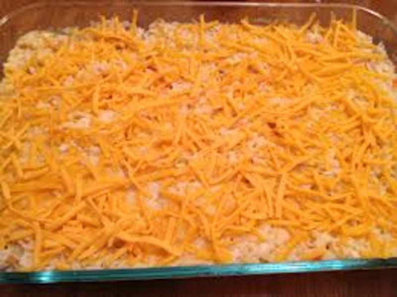 Cheesy meatless ground round casserole