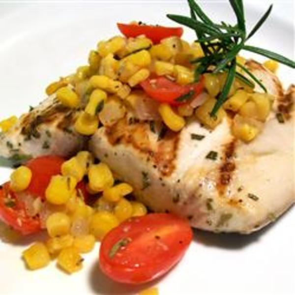 Blue Marlin with Roasted Corn and Tomato Relish