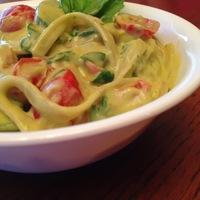 Gluten-Free Vegan Avocado Fettuccine Alfredo with Zucchini and Tomatoes