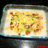 Rice Congee Wth Salted Egg & Minced Chicken