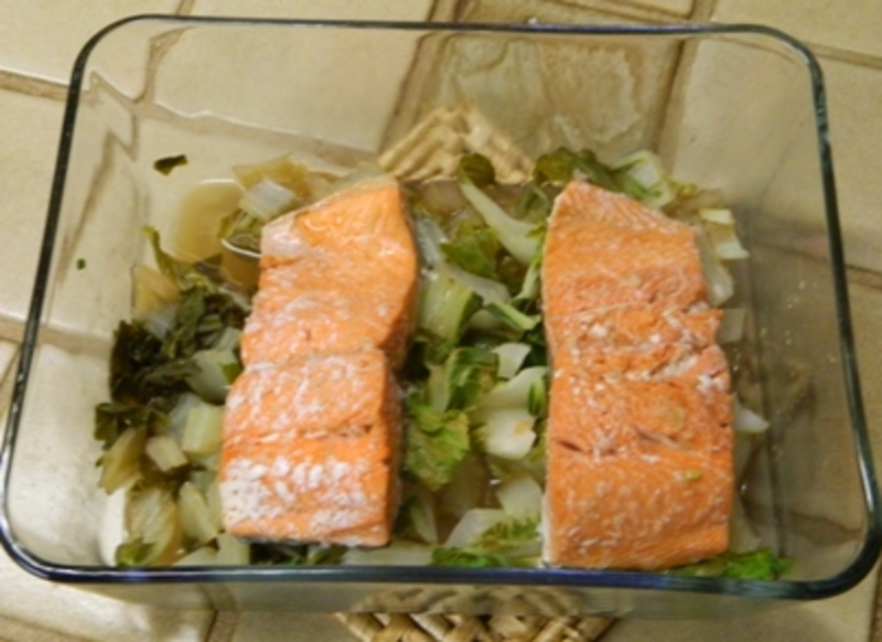 Steamed Salmon with Bok Choy