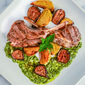 Lamb Chops with Mint Pesto, Roasted Golden Beets and Figs