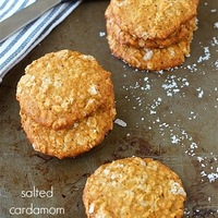 Salted cardamom oatmeal cookies