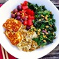 Brown Rice Bowl with Grilled Halloumi Cheese and Massaged Kale