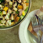 Cauliflower Chopped Salad with Croutons and Bacon Bits