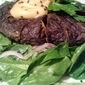 Country Fried Portobello Steaks w/ Red Miso Mayo and Spinach and Red Onion Salad