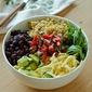 Black bean and avocado quinoa bowl