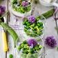 Peas, Fava Beans & Herb Flowers with Lemon Ricotta Cream