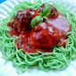 Halloween Fare, Monster Meatballs and Green Spaghetti!