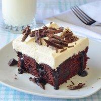 Chocolate Poke Cake with Fudge Sauce
