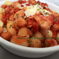 Chicken, Chickpeas in Tomato Burgundy Sauce Over Pasta Recipe