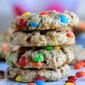 Eggless Chewy Oatmeal and M&M Cookies