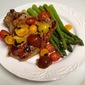 Pan-Grilled Veal Chops with Tomato-Blue Cheese Butter and a Cherry Tomato Salad