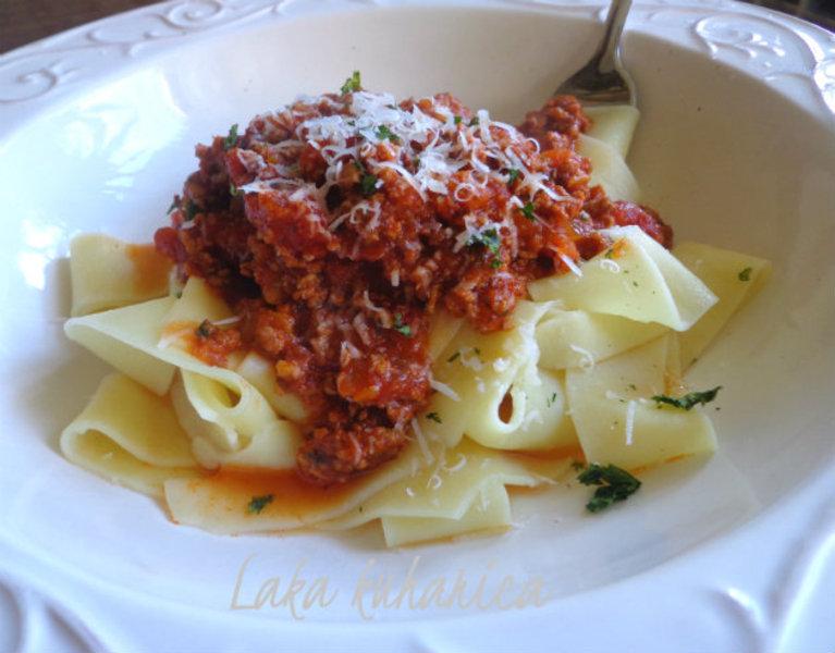 Fresh fettucine with sauce Bolognese