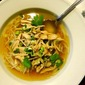 Poached-Chicken and Mushroom Soup with Ginger Broth