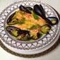 Poached Salmon with Saffron Sauce and Mussels