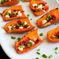 Light Sweet Potato Skins with Bacon & Goat Cheese