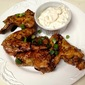 Balsamic Soy-Glazed Chicken Wings with Blue Cheese Dipping Sauce