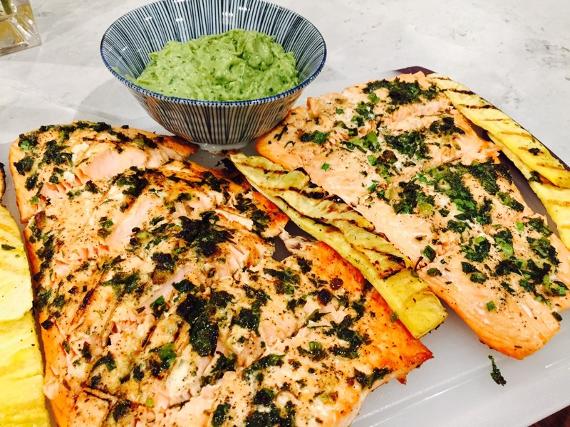 Grilled Salmon and Pineapple with Avocado salsa