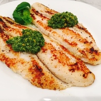 Swai with Lemon-Basil Pesto