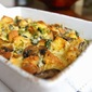 Spinach, Mushroom & Cheese Strata - a savory bread pudding recipe