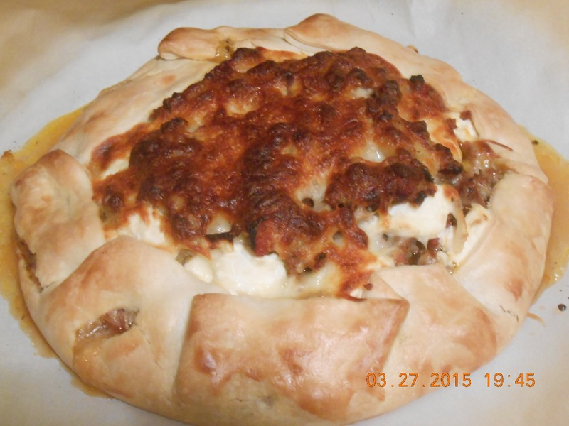 Rustic Galette with Turkey Sausage, Eggplant, Tomato and Ricotta