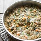 Skillet Farro and Turkey Sausage Casserole with Kale and Sweet Potatoes
