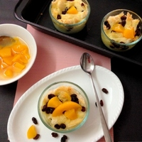 Peach Raisin Bread Pudding (Eggless)