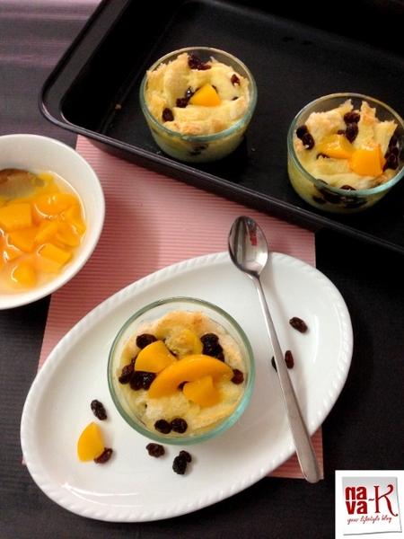 Peach Raisin Bread Pudding (Eggless)
