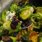 Roasted Brussels Sprouts with Toasted Pecans, Cranberries and Bleu