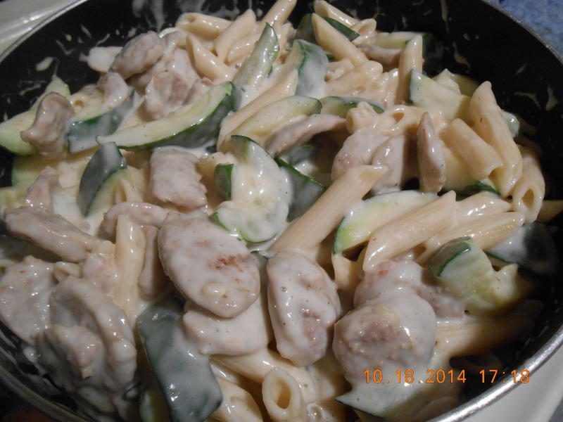 Penne Alfredo with Italian Sausage and Zucchini