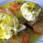 Smoked Salmon Eggs Benedict with Butter-Olive-Lemon-Caper-Maple Syrup sauce