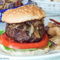 Bourbon Caramelized Onion and Blue Burger #SundaySupper