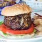 Bourbon Caramelized Onion and Blue Burger #SundaySupper #GrillTalk