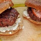 Onion-Stuffed Burgers with Blue Cheese Spread