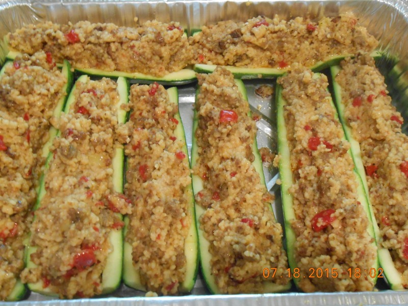 Zucchini Boats stuffed w/ Sausage and Cous-Cous