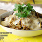 French Dip Mushroom Spaghetti with Horseradish Cheddar Sauce