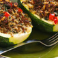 Stuffed Zucchini Recipe with Brown Rice, Ground Beef, Red Pepper, and Basil, with Variations (Gluten-Free)