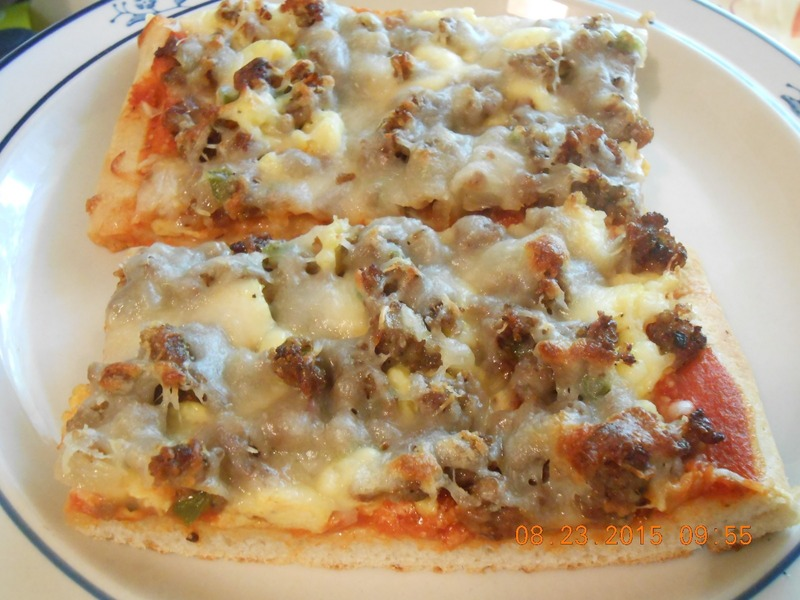 Breakfast Pizza - Egg, Sausage, Onions and Peppers
