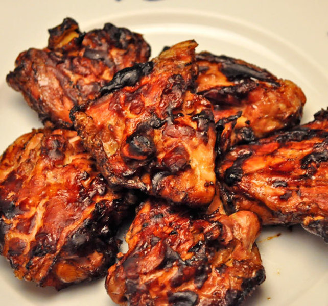 Grilled Chicken Thighs With Oyster Barbecue Sauce; On The