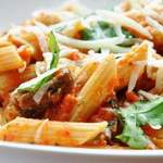 Pasta With Mushrooms, Red Bell Pepper And Pumpkin