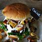 Caesar Salad Burger with Jalapeno Parmesan Croutons