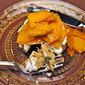 Butternut Squash and Goat Cheese on Polenta Rounds, spike heels for everyone!